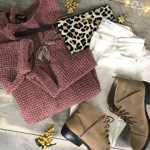 Mauve waffle knit chunky sweater